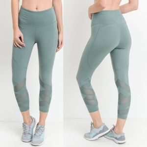 d96714213db70 Electric Yoga Pants | Pale Green Mesh Panel Leggings | Poshmark